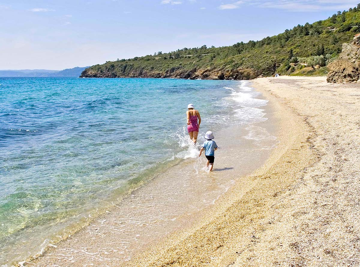 Walking and swimming during summer in Greece